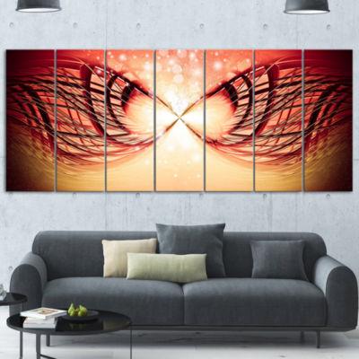 Designart Bright Light On Red Fractal Design Contemporary Canvas Wall Art Print - 5 Panels