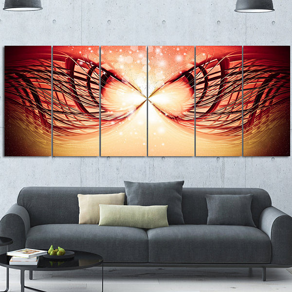 Design Art Bright Light On Red Fractal Design Abstract Canvas Wall Art Print - 6 Panels