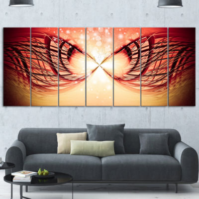 Designart Bright Light On Red Fractal Design Abstract Canvas Wall Art Print - 6 Panels