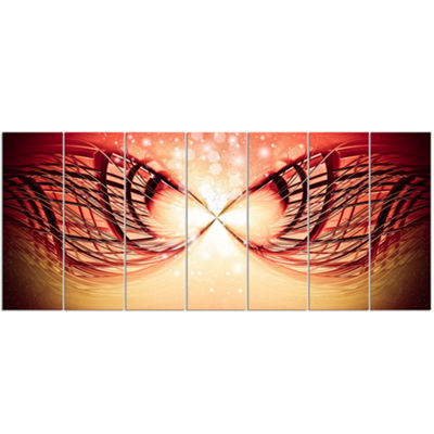 Designart Bright Light On Red Fractal Design Abstract Canvas Wall Art Print - 7 Panels