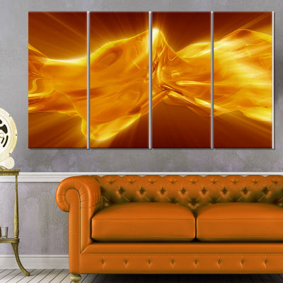 Plasmas And Liquid With Fiery Shine Abstract Canvas Wall Art Print - 4 Panels