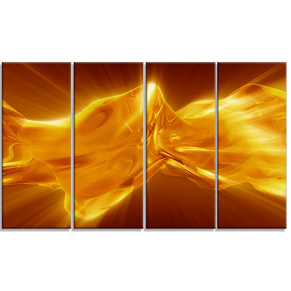 Designart Plasmas And Liquid With Fiery Shine Abstract Canvas Wall Art Print - 4 Panels