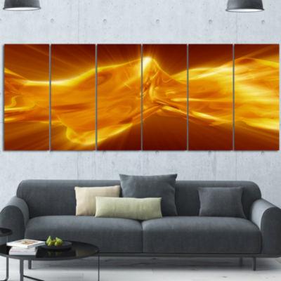 Designart Plasmas And Liquid With Fiery Shine Abstract Canvas Wall Art Print - 7 Panels