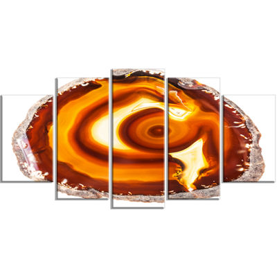 Designart Vibrant Agate Geode Slice Large AbstractWrapped Canvas Artwork - 5 Panels