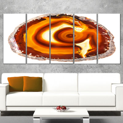 Designart Vibrant Agate Geode Slice Large AbstractCanvas Artwork - 5 Panels