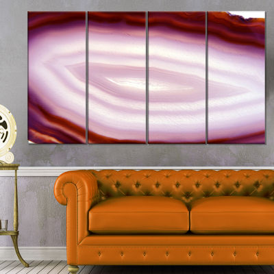 Pink Agate Geode Geological Crystals Large Abstract Canvas Artwork - 4 Panels