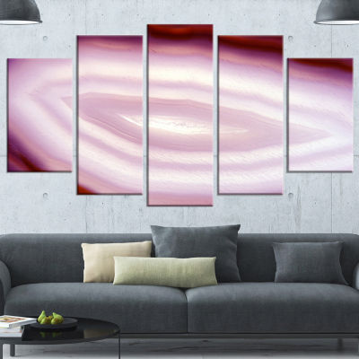 Designart Pink Agate Geode Geological Crystals Large Abstract Wrapped Canvas Artwork - 5 Panels