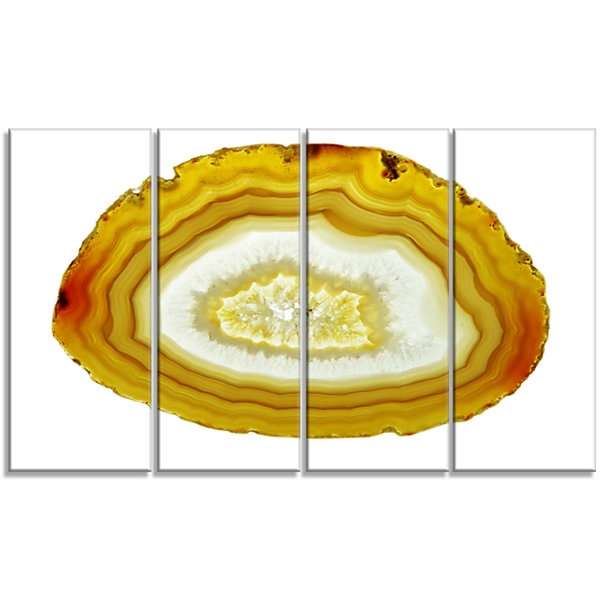 Designart Yellow Agate With Geological Crystal Large Abstract Canvas Artwork - 4 Panels