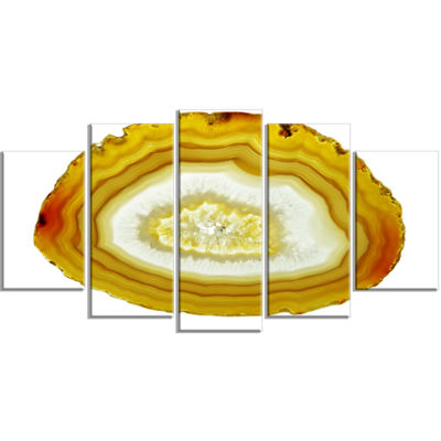 Designart Yellow Agate With Geological Crystal Large Abstract Wrapped Canvas Artwork - 5 Panels