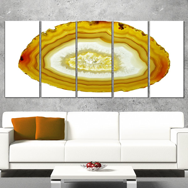 Designart Yellow Agate With Geological Crystal Large Abstract Canvas Artwork - 5 Panels