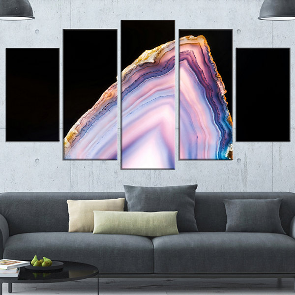 Designart Beautiful Slice Of Agate On Black LargeAbstract Wrapped Canvas Artwork - 5 Panels