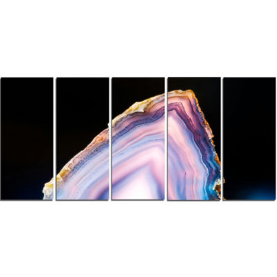 Beautiful Slice Of Agate On Black Large Abstract Canvas Artwork - 5 Panels