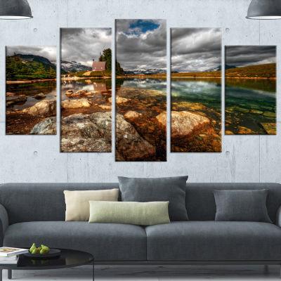 Designart Beautiful Clear Mountain Lake Green Landscape Canvas Art Print - 5 Panels