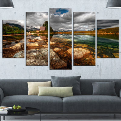 Designart Beautiful Clear Mountain Lake LandscapeCanvas Art Print - 5 Panels