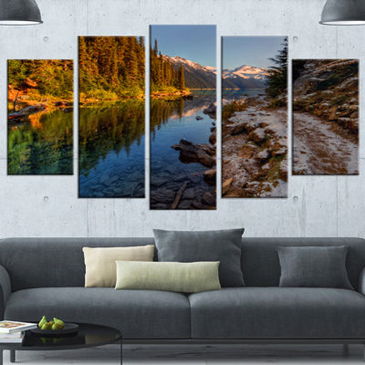 Designart Placid Lake Between Mountains LandscapeCanvas Art Print - 5 Panels