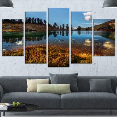 Design Art Calm Mountain Lake And Clear Sky Landscape Canvas Art Print - 4 Panels