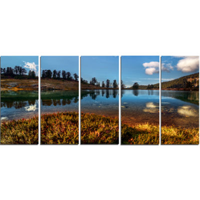 Designart Calm Mountain Lake And Clear Sky Landscape Canvas Art Print - 5 Panels