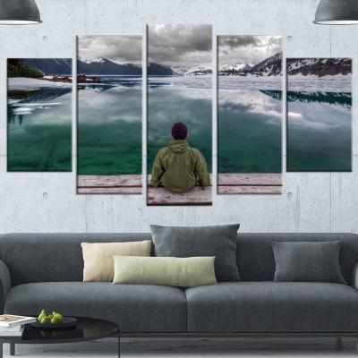 Designart Boy Looking At Clear Mountain Lake Landscape Canvas Art Print - 4 Panels