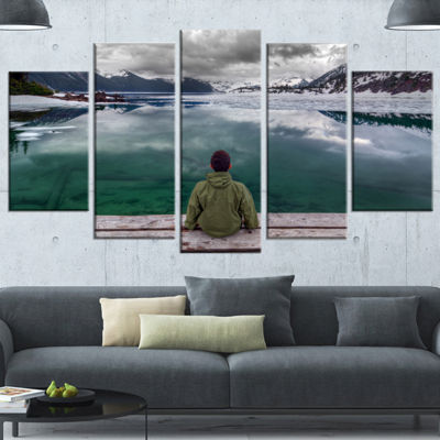 Designart Boy Looking At Clear Mountain Lake LargeLandscapeCanvas Art Print - 5 Panels