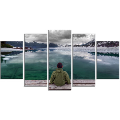 Boy Looking At Clear Mountain Lake Large LandscapeCanvas Art Print - 5 Panels