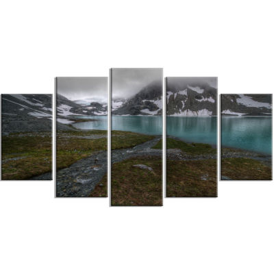 Turquoise Mountain Lake With Clouds Large Landscape Canvas Art Print - 5 Panels
