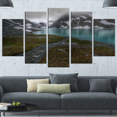 Designart Turquoise Mountain Lake With Clouds Landscape Canvas Art Print - 5 Panels