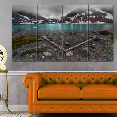 Mountain Lake And Cloudy Sky Landscape Canvas ArtPrint - 4 Panels