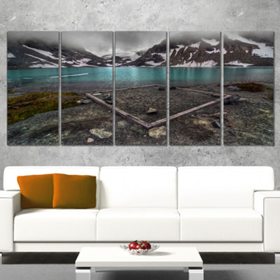 Designart Mountain Lake And Cloudy Sky LandscapeCanvas Art Print - 5 Panels