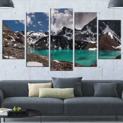 Designart Distant Mountains And Mountain Lake Landscape Canvas Art Print - 4 Panels