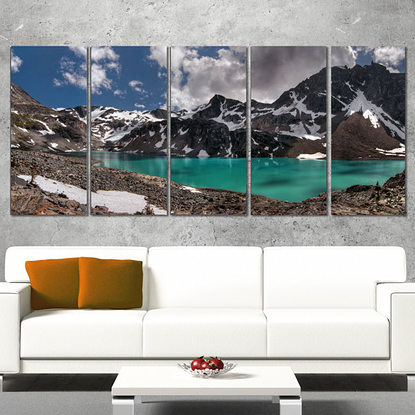 Designart Distant Mountains And Mountain Lake Landscape Canvas Art Print - 5 Panels