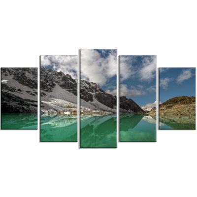 Designart Clear Mountain Lake Under Bright Sky Large Landscape Canvas Art Print - 5 Panels