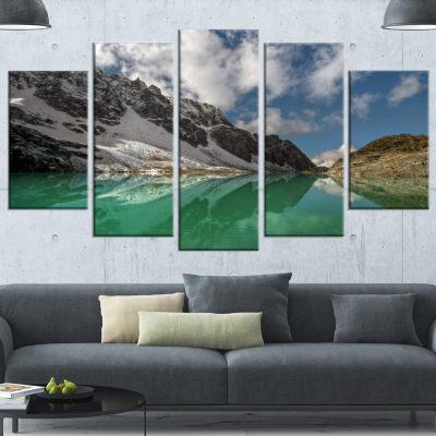 Designart Clear Mountain Lake Under Bright Sky Landscape Canvas Art Print - 5 Panels