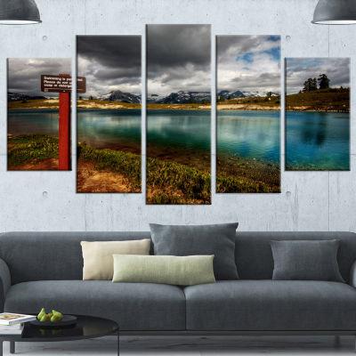 Designart Azure Mountain Lake With Clouds Landscape Canvas Art Print - 4 Panels