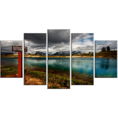 Azure Mountain Lake With Clouds Blue Landscape Canvas Art Print - 5 Panels