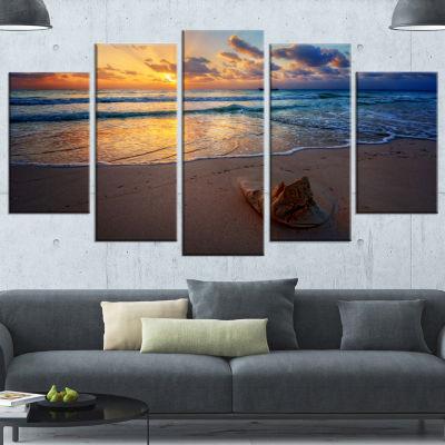 Designart Quiet Seashore During Sunset Seashore Canvas Art Print - 4 Panels