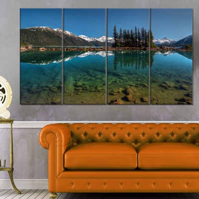 Designart Row Of Pine Trees And Mountain Lake Landscape Canvas Art Print - 4 Panels