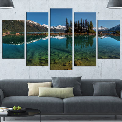 Designart Row Of Pine Trees And Mountain Lake Large Landscape Canvas Art Print - 5 Panels
