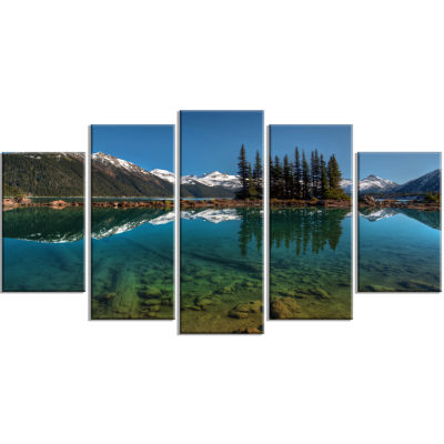 Row Of Pine Trees And Mountain Lake Large Landscape Canvas Art Print - 5 Panels