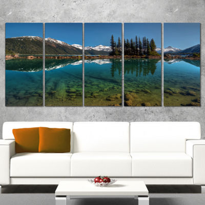 Designart Row Of Pine Trees And Mountain Lake Landscape Canvas Art Print - 5 Panels