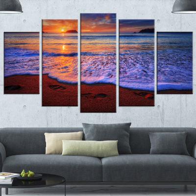 Designart Colorful Sunset Over Beautiful Shore Seashore Canvas Art Print - 5 Panels