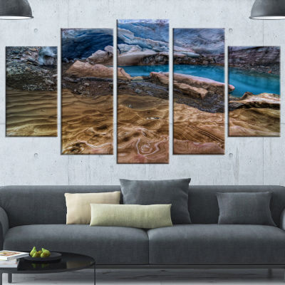 Designart Brilliant Turquoise Melt Pool LandscapeCanvas Art Print - 5 Panels