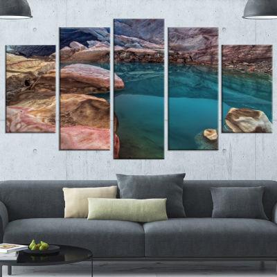 Designart Beautiful Turquoise Melt Pool Large Landscape Canvas Art Print - 5 Panels