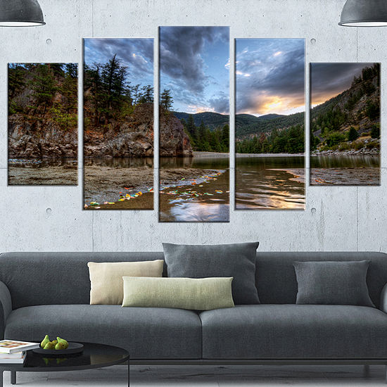 Designart Peaceful Evening At Mountain Creek Landscape Canvas Art Print - 5 Panels