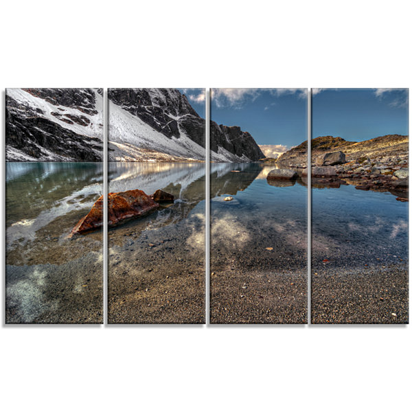 Design Art Sapphire Mountain Lake View Landscape Canvas Art Print - 4 Panels