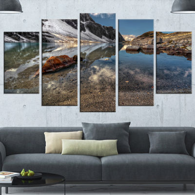 Designart Sapphire Mountain Lake View Large Landscape Canvas Art Print - 5 Panels