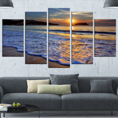 Designart Calm Seashore With Blue Waves SeashoreCanvas Art Print - 4 Panels