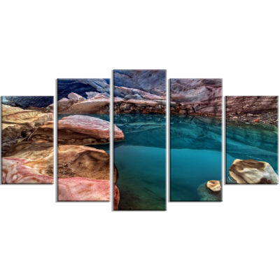 Deep Glacier Cave In Blue Large Landscape Canvas Art Print - 5 Panels