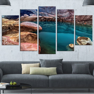 Designart Deep Glacier Cave In Blue Landscape Canvas Art Print - 5 Panels