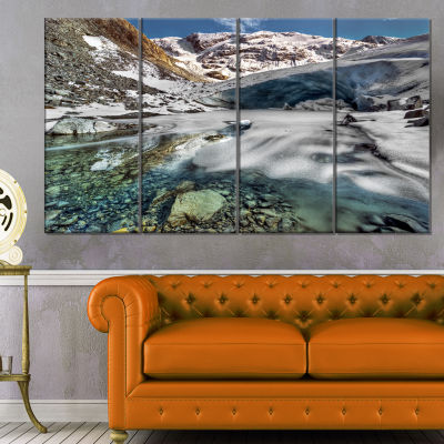 Cave In Rugged Rocky Setting Landscape Canvas ArtPrint - 4 Panels