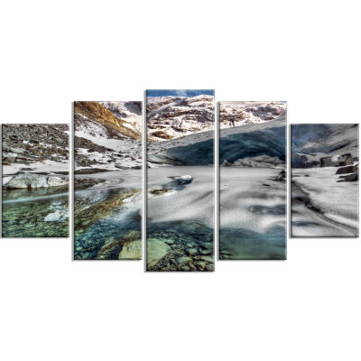 Cave In Rugged Rocky Setting Landscape Wrapped Canvas Art Print - 5 Panels